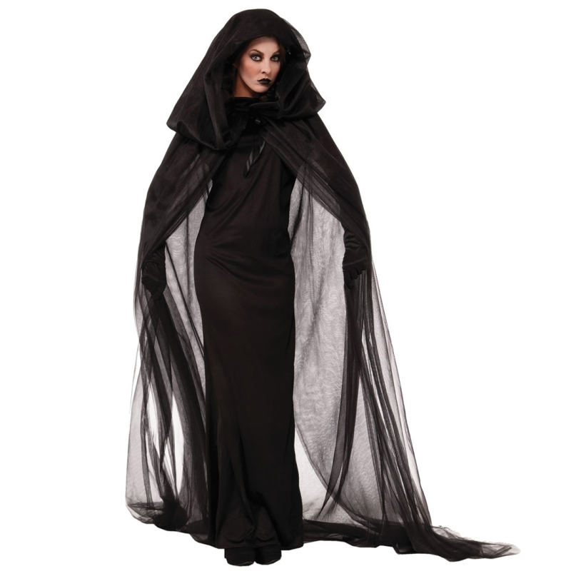 Halloween Costume Night Wandering Soul Ghost Dress Witch Dress Nightclub Rave Party Service, XL, Bust: 84-100cm, Clothes Long: 150cm, Cloak Length:227cm