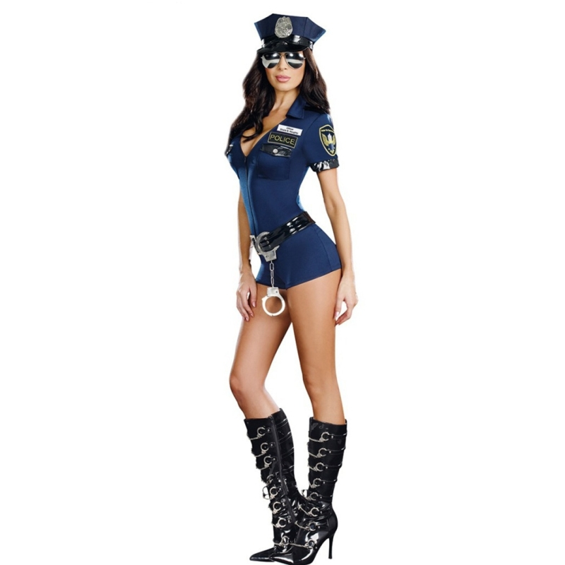 Halloween Costume Police Woman Mounted Police Uniform Lure Blue ...