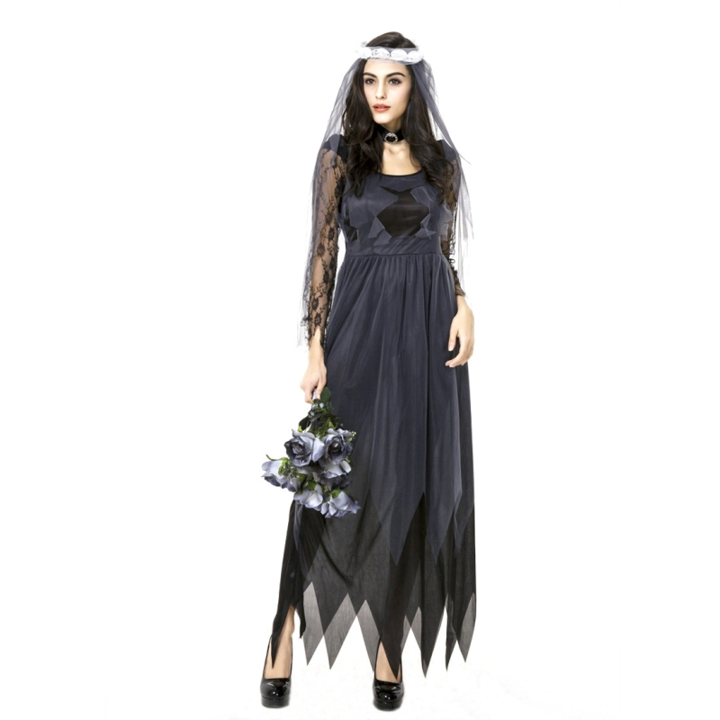 Halloween Costume Women Lace Chiffon Black Dress Ghost Bride Clothes