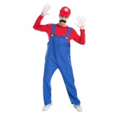 Halloween Costume Male SuperMario Mario and Luigi Brothers Plumbers Overalls Stage Performance Cosplay Clothing, M, Bust: 100cm, Clothes Long:58cm, Long Pants:105cm