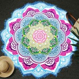Microfiber Colorful Printed Tassel Lotus Summer Bath Towel Sand Beach Towel Shawl Scarf (Blue+Magenta)