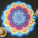 Microfiber Colorful Printed Tassel Lotus Summer Bath Towel Sand Beach Towel Shawl Scarf (Blue+Yellow)