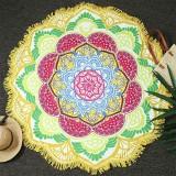 Microfiber Colorful Printed Tassel Lotus Summer Bath Towel Sand Beach Towel Shawl Scarf (Yellow+Green)