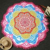 Microfiber Colorful Printed Tassel Lotus Summer Bath Towel Sand Beach Towel Shawl Scarf (Magenta+Blue)
