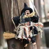 Halloween Retro Witch Ornaments Broom Ghost Hang Up Props Halloween House Decoration Festive Party Supplies Halloween Pendant (Black)