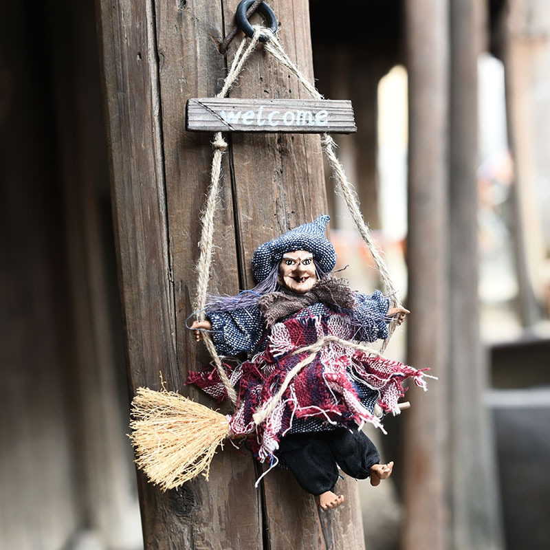 Halloween Retro Witch Ornaments Broom Ghost Hang Up Props