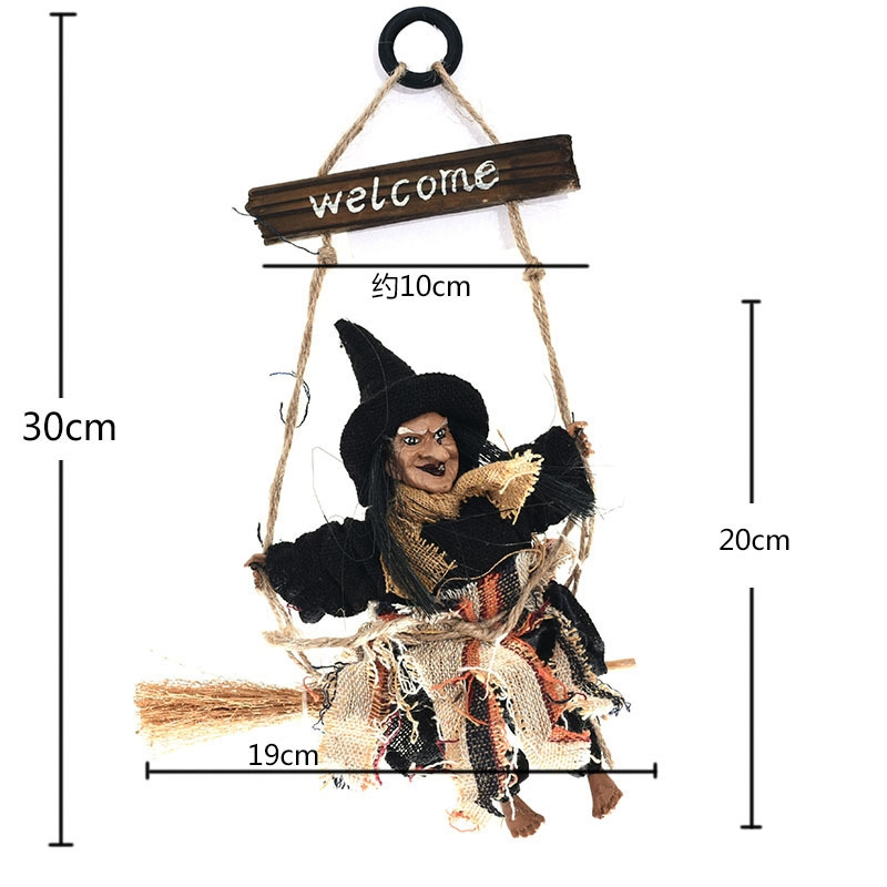 Halloween Retro Witch Ornaments Broom Ghost Hang Up Props Halloween House Decoration Festive Party Supplies Halloween Pendant (Yellow)