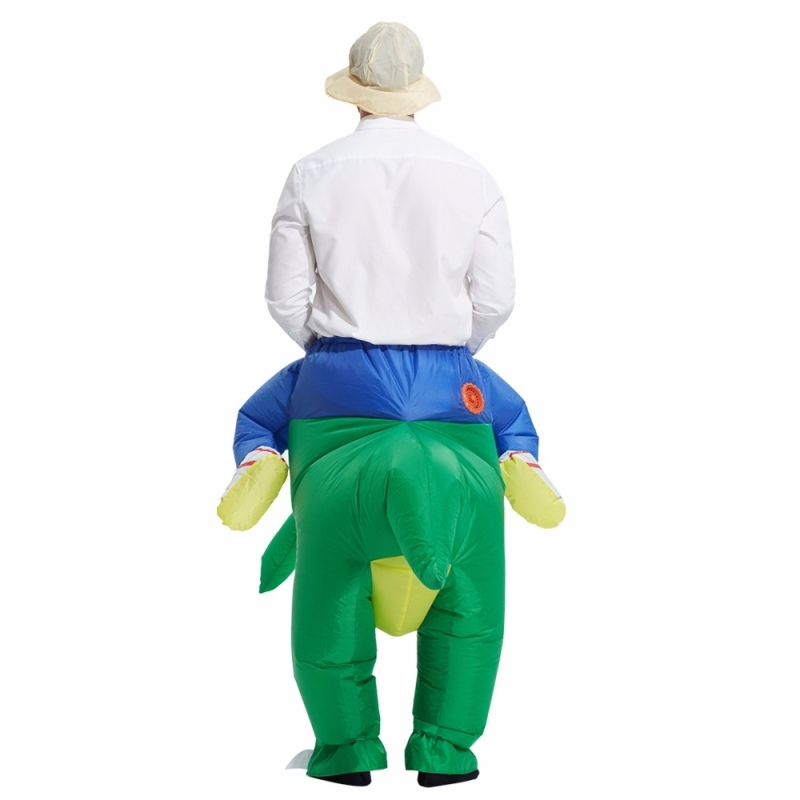 Operated Inflatable Dinosaur Fancy Polyester Dress Halloween Party Costume for Adult, Recommended Height: 1.5-1.9m (Green)