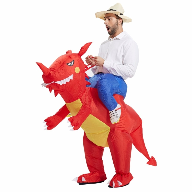 Operated Inflatable Dinosaur Fancy Polyester Dress Halloween Party Costume for Adult, Recommended Height: 1.5-1.9m (Red)