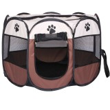 Fashion Oxford Cloth Waterproof Dog Tent Foldable Octagonal Outdoor Pet Fence (M) (Coffee)