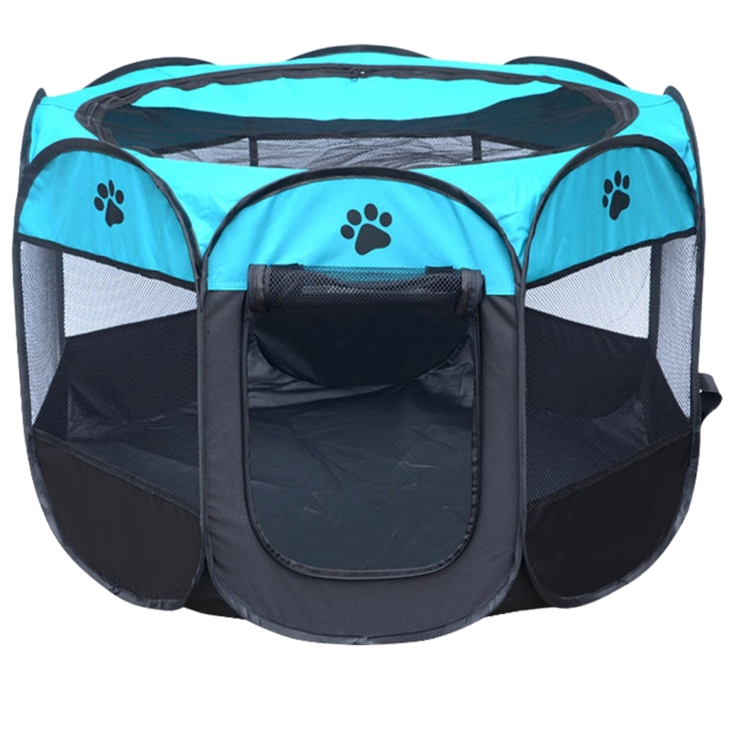 Fashion Oxford Cloth Waterproof Dog Tent Foldable Octagonal Outdoor Pet Fence (M) (Blue)