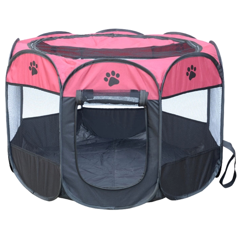 Fashion Oxford Cloth Waterproof Dog Tent Foldable Octagonal Outdoor Pet Fence (M) (Magenta)