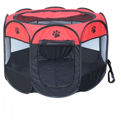 Fashion Oxford Cloth Waterproof Dog Tent Foldable Octagonal Outdoor Pet Fence (M) (Red)