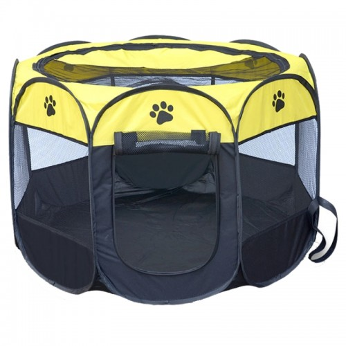 Fashion Oxford Cloth Waterproof Dog Tent Foldable Octagonal Outdoor Pet Fence (M) (Yellow)