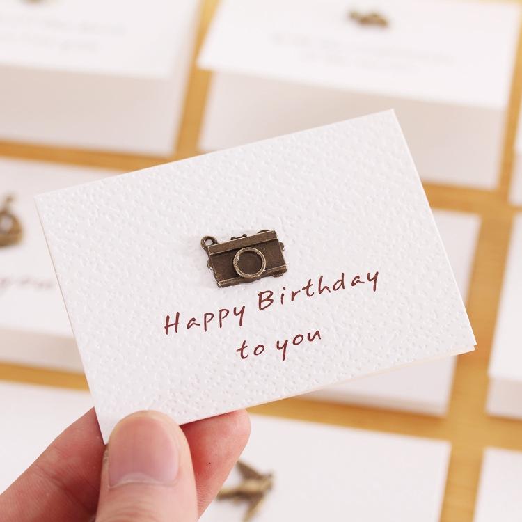 4 Pcs Creative Simple Mini Ornaments Greeting Card Birthday Card Diy Folding Blessing Card Postcard Random Style
