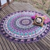 Printed Elephant and Flower Pattern Round Summer Bath Towel Sand Beach Towel Shawl Scarf