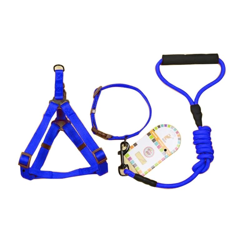 Dog Harness For Golf Cart >> Pet Dog Collar + Harness + Leash Three Sets (S), Pet Weight: 8kg Below (Dark Blue) | Alexnld.com