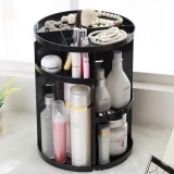 360 Degrees Rotate Functional Cosmetics Container Makeup Organizer Eco-friendly Storage Box (Black)