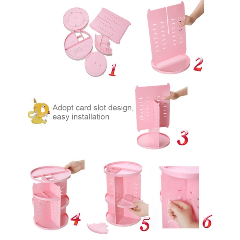 360 Degrees Rotate Functional Cosmetics Container Makeup Organizer Eco-friendly Storage Box (Pink)