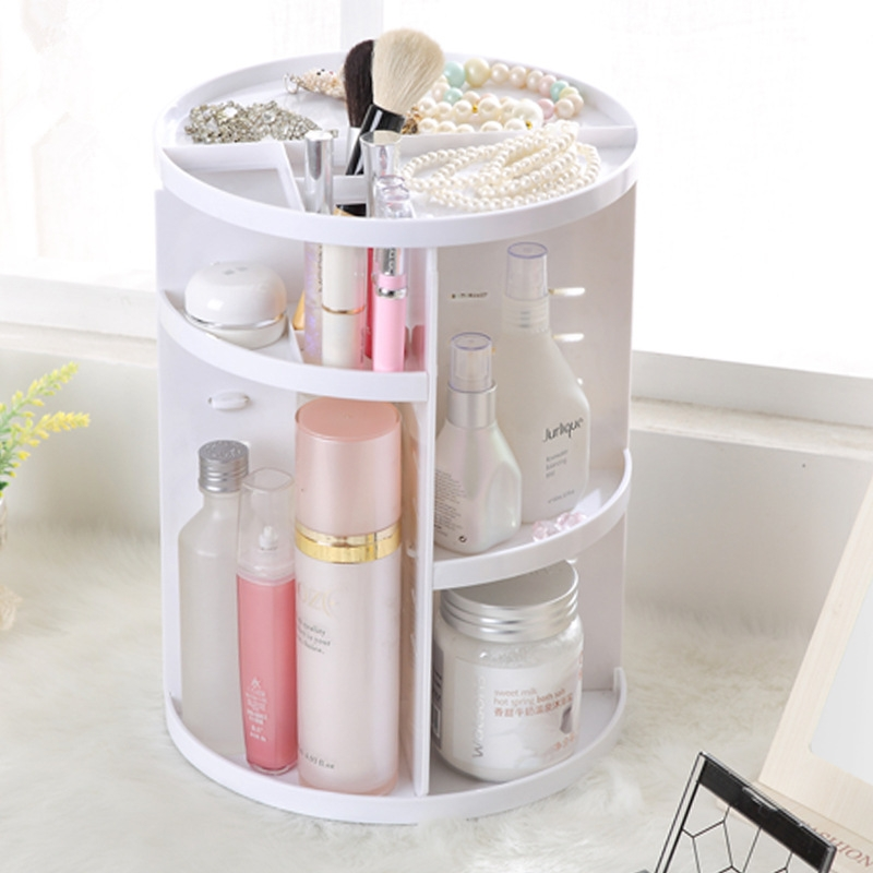 360 Degrees Rotate Functional Cosmetics Container Makeup Organizer Eco-friendly Storage Box (White)