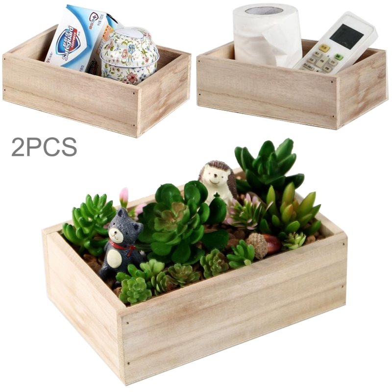 2PCS Retro Square Wooden Multi - meat Small Flower Pot Wooden Box Home Gardening Decoration