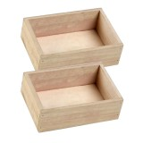 2PCS Retro Square Wooden Multi – meat Small Flower Pot Wooden Box Home Gardening Decoration