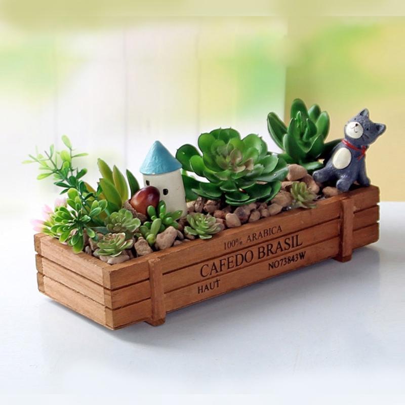 2PCS Plant Flower Pot Retro Woody Meat Plant Pots Wooden Box Gardening Small Flowerpots