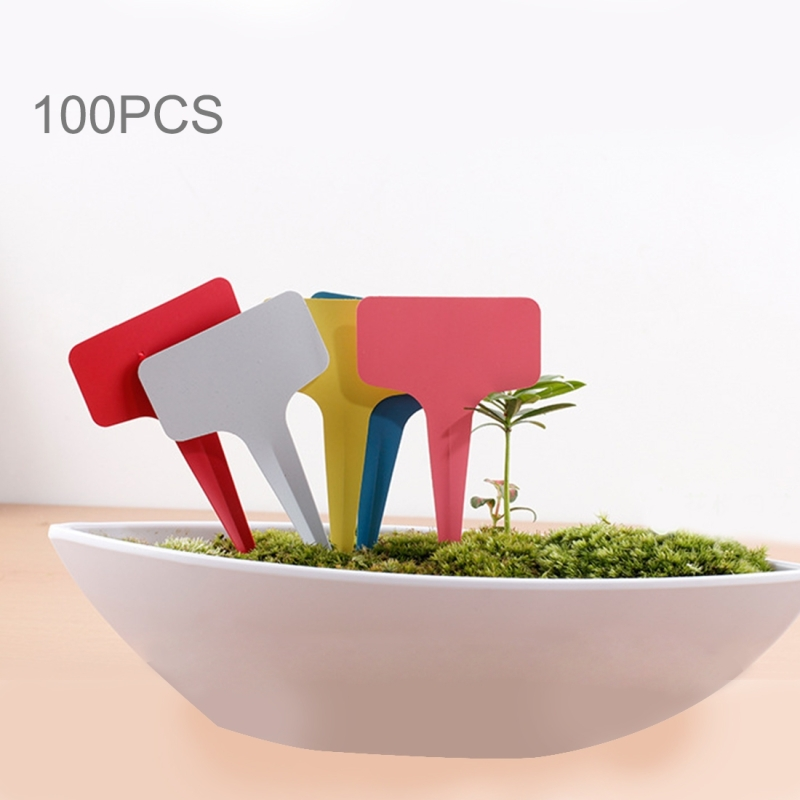 100PCS Floral Label Gardening Label T - type Label Insert Label Potted Label (Random Color)