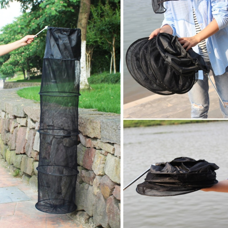 1.5m Fish Net Cage 5 Layers Collapsible Fish Care Net Fish Cage Wire Fish Care Anti-scraper Care (Random Color)