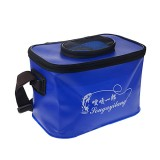 Live Fish Bucket Folding Water Bucket Fish Bucket Bait Box Fishing Water Tank (Blue)