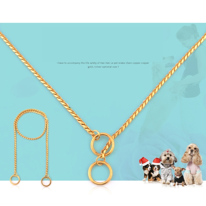 Pet Collars Pet Neck Strap Dog Neckband Snake Chain Dog Chain Solid Metal Chain Dog Collar (Gold)