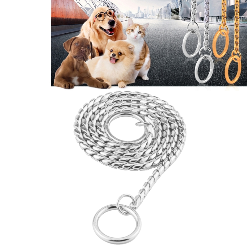 Pet Collars Pet Neck Strap Dog Neckband Snake Chain Dog Chain Solid Metal Chain Dog Collar (Silver)