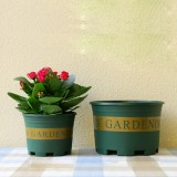 1 Gallon Flower Pots Plant Nursery Pots Plastic Pots Creative Gallons Pots with Tray, 17.5*16*16cm