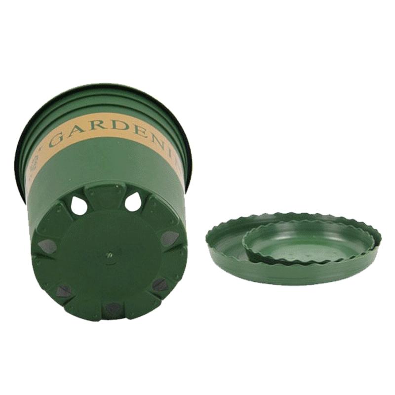 1 Gallon Flower Pots Plant Nursery Pots Plastic Pots Creative Gallons Pots with Tray, 17.5*16*16cm