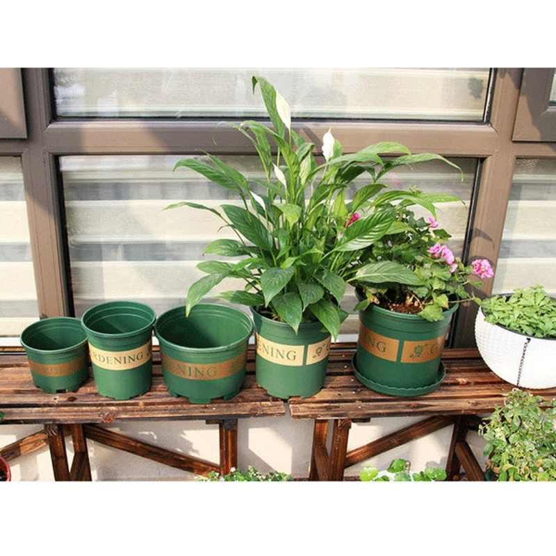 1.5 Gallon Flower Pots Plant Nursery Pots Plastic Pots Creative Gallons Pots with Tray, 20*19.5*19.5cm