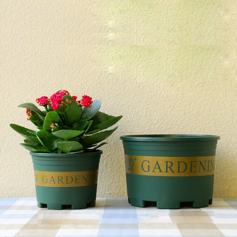 Flower Pots Plant Nursery Plastic Creative Gallons With Tray 12 16