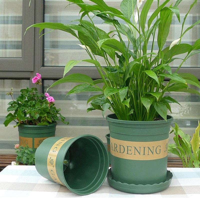 Flower Pots Plant Nursery Pots Plastic Pots Creative Gallons Pots with Tray, 15*22*18cm