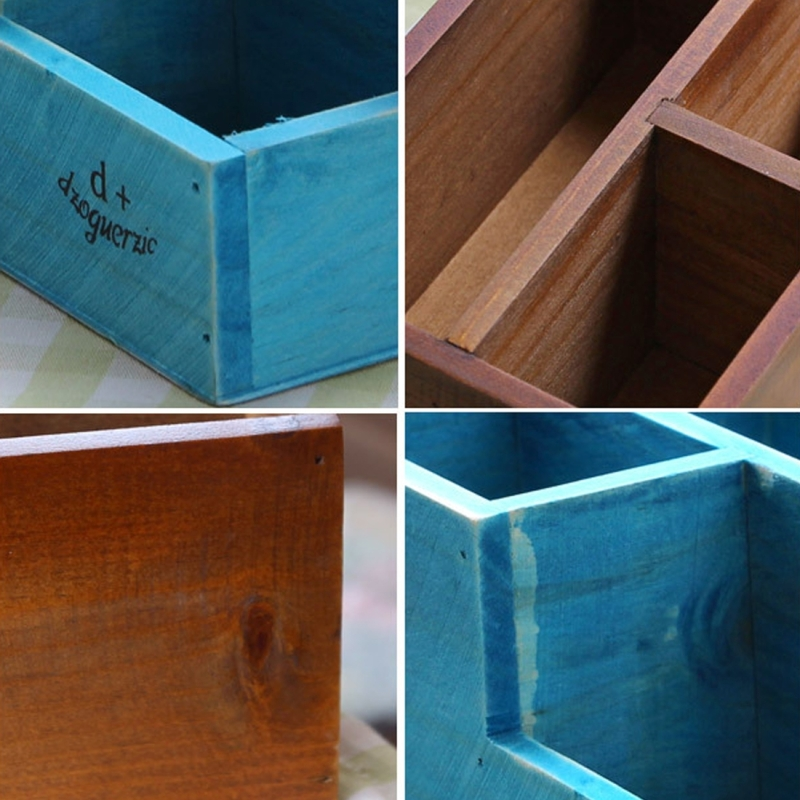 2 PCS Retro Square Wooden Flower Pot Wooden Box Woody Storage Box Multi-functional Wooden Box (Random Color)