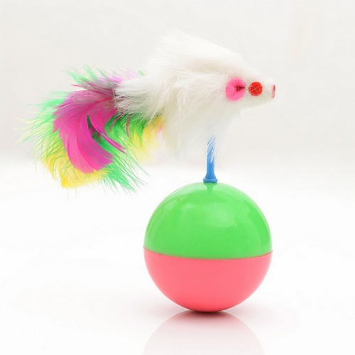 durable pet cat favorite toys feather mouse tumbler