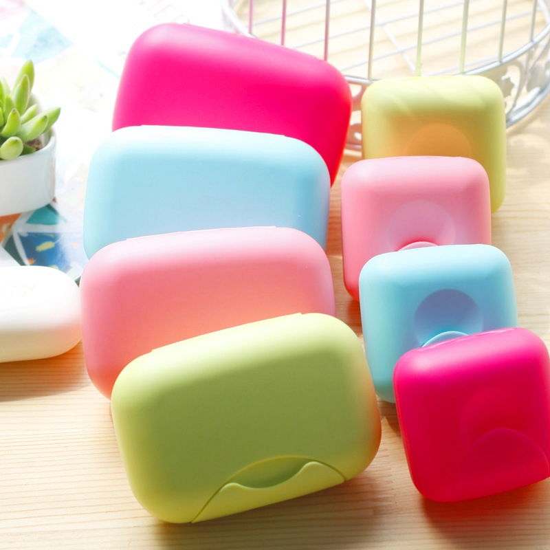 Home Travel Soap Box Lock Sealed Waterproof Leakproof Soap Holder Case with Cover Soap Dishes Container (Random Color), Large, 11.5*7.5*4cm
