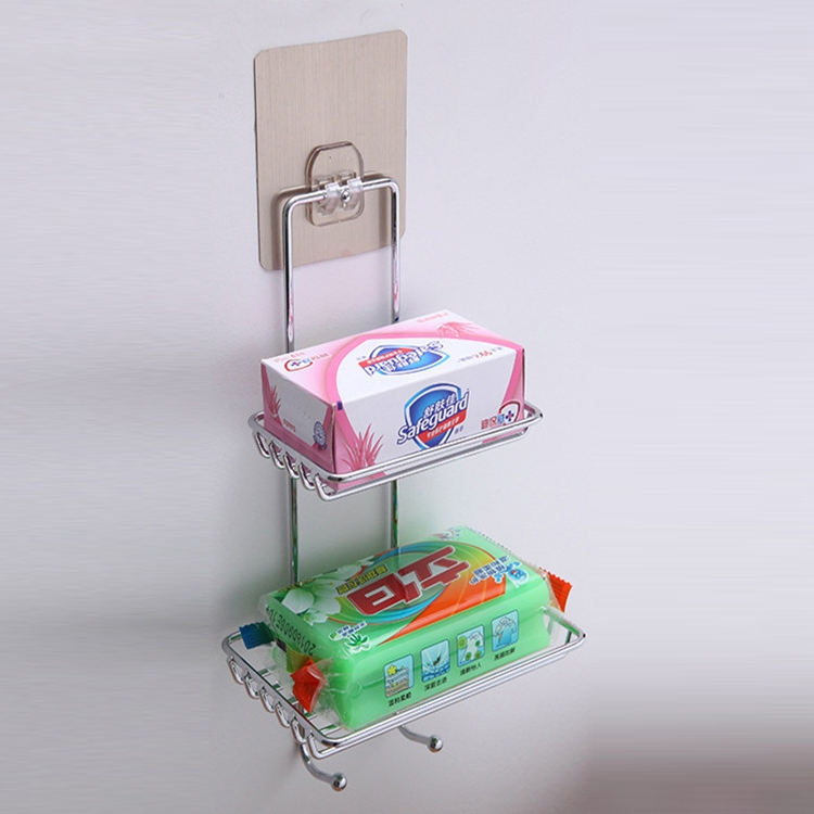 Creative Double Layer Stainless Steel Soap Stand Non-trace Magic Sticker Style Soap Dish Bathroom Shelf Belt Hanger