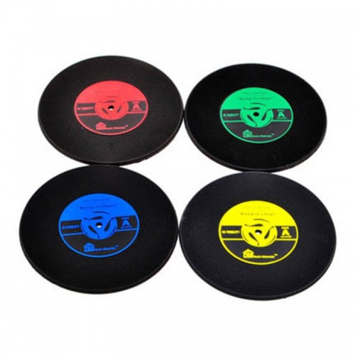4 PCS Retro Black Vinyl CD Record Drink Coasters Home Table Cup Mat Decor Coffee Drink Placemat Tableware Spinning (Random Color)