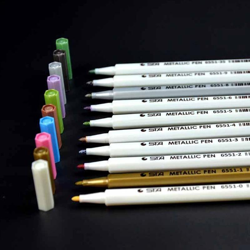 10 PCS Creative Stationery Water Chalk Pen Watercolor Pens Scrapbooking Photo Album Metallic Art Marker Pens Gel Pen School Office Stationery (Random Color)