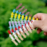 Mini Small Fence Barrier Wooden Craft Wooden Small Fence Moss Micro – landscape Ornaments Multi-meat Bonsai Plant Decoration (Random Color)