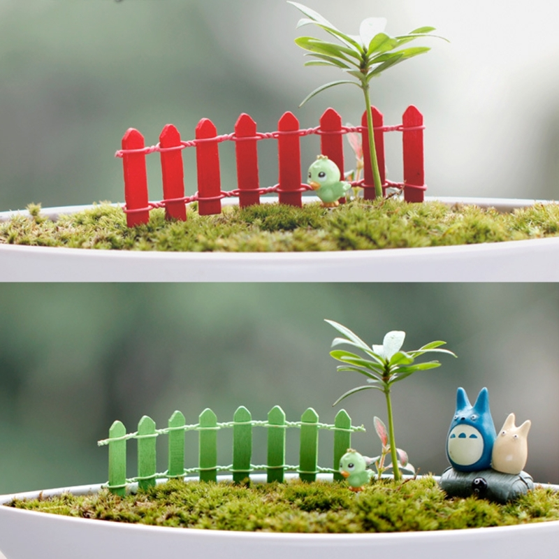 Mini Small Fence Barrier Wooden Craft Wooden Small Fence Moss Micro - landscape Ornaments Multi-meat Bonsai Plant Decoration (Random Color)