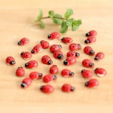50 PCS Red Color Wooden Cabochons Ladybug for Decoration Wood Ladybug Decoration Crafts Micro-landscape Ornaments Accessories Multi-meat Ornaments