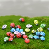 50 PCS Mixed Color Wooden Cabochons Ladybug for Decoration Wood Ladybug Decoration Crafts Micro-landscape Ornaments Accessories Multi-meat Ornaments
