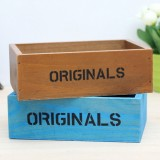 2 PCS Retro Square Wooden Flower Pot Wooden Box Woody Storage Box Multi-functional Wooden Box Desktop Storage Box Multi-meat Flower Plant Box Nursery Box (Random Color)