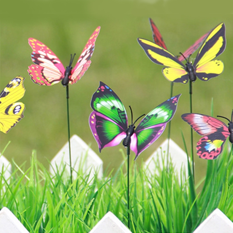 50 pcs colorful butterflies garden ornament flowerpot for Outdoor butterfly ornaments