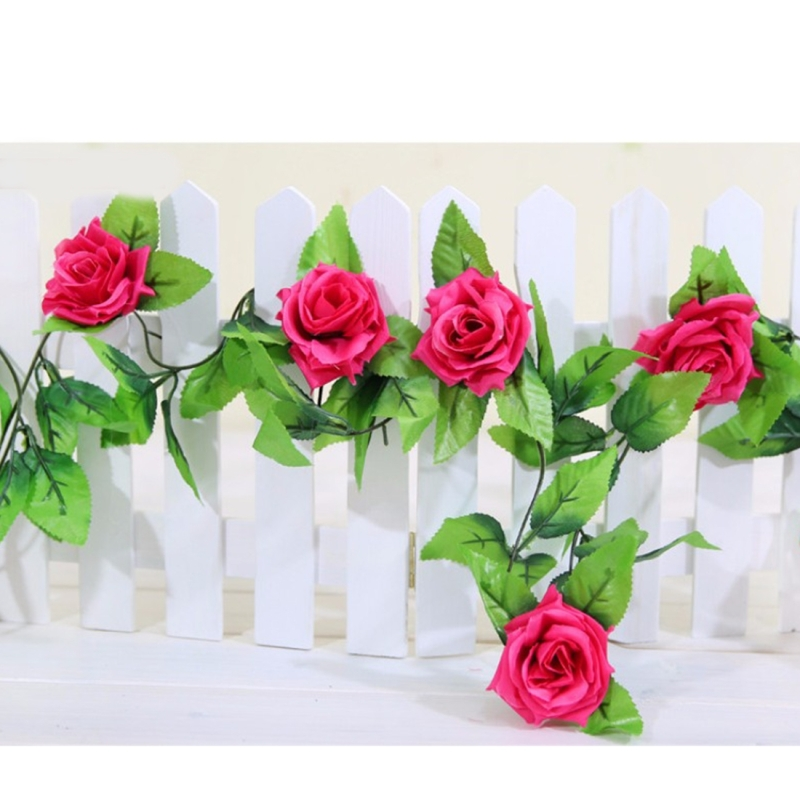 Simulation of Rattan Flowers Artificial Flowers Fake Simulation Champagne Rose Ivy Vine Hangings Garlands for Home Wedding Decoration, 2.5m (Random Color)
